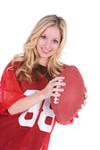 Football: Woman Sports Fan With Football — Stock Photo