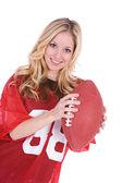 Football: Woman Sports Fan With Football — Stock Photo