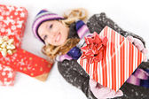 Winter: Holding Out A Christmas Gift — Foto de Stock