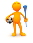 3d Guy: Soccer Guy with Ball and Vuvuzela — Stock Photo