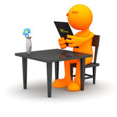 3d Guy: Reading a Menu in a Restaurant — Stock Photo