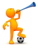 3d Guy: Blowing a Vuvuzela — Stock Photo