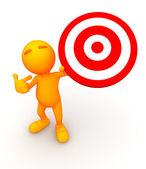 3d Guy: Holding Up a Bullseye — Stock Photo