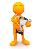 3d Guy: Man Holding Silver Trophy — Stock Photo