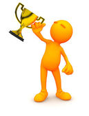 3d Guy: Man Holding Gold Trophy — Stock Photo