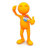 3d Guy: Pointing to Vote Button — Stock Photo