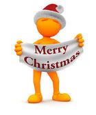 Orange Guy: Holding Merry Christmas Sign — Stock Photo