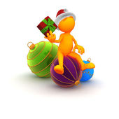 Orange Guy: Guessing What Is In Christmas Present — Zdjęcie stockowe