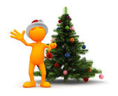 Orange Guy: Standing By The Christmas Tree — Stock Photo