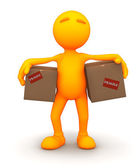 3d Guy: Carrying Cardboard Boxes — Stock Photo
