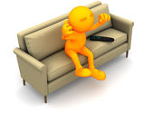3d Guy: Sitting On Couch Watching TV — Stock Photo