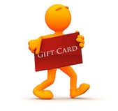 3d Guy: Shopping with a Gift Card — Stock Photo