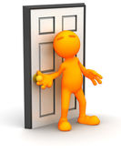 3d Guy: Ready to Open A Door — Stock Photo