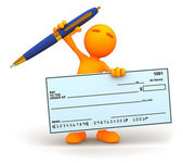 3d Guy: Cheering with Giant Check — Stock Photo