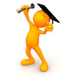 3d Guy: Cheering with Diploma — Stock Photo