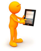 3d Guy: Writing an E-mail on Tablet Computer — Stock Photo