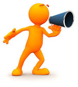 3d Guy: Yelling with a Megaphone — Stock Photo