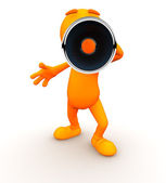 3d Guy: Yelling at Camera with a Megaphone — Stock Photo