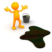 3d Guy: Upset About Oil Spill — Stock Photo