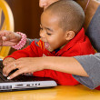 Family: Parent Teaching Boy To Use Computer — Photo