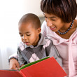Family: Mother and Child Read A Book Together — Stok fotoğraf