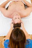 Massage: Overhead View of Man Getting Massage — Stock Photo