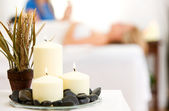 Massage: Focus on Spa Candles — Stock Photo