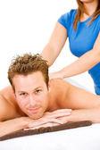 Massage: Man Gets Back Massage — Stock Photo