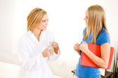 Massage: Talking with a Therapist — Stock Photo