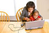 Family: Parent Teaching Boy To Use Computer — Stock Photo