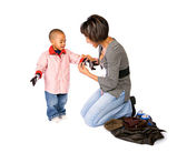 Family: Mother Dressing Boy For Winter — Stock Photo