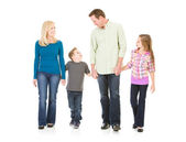 Family: Holding Hands and Walking — Stock Photo
