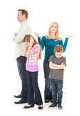 Family: Parents and Kids All Upset with Each Other — Stock Photo
