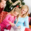 Christmas: Christmas Morning Family Present Time — Foto de Stock