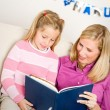 Hanukkah:  Child Reading Story with Mother — Foto de Stock