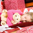 Christmas: Girl Asleep After Opening Presents — Foto de Stock