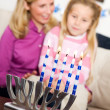 Stock Photo: Hanukkah: Focus on Lit Candles