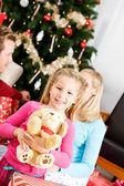 Christmas: Girl Gets Stuffed Dog for Christmas — Stock Photo