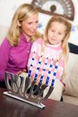 Hanukkah: Focus on Lit Candles — Stock Photo