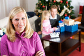 Holidays: Cheerful Mother During Holidays — Stock Photo