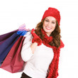 Christmas: Holiday Shopper with Shopping Bags — Stock Photo #36515027