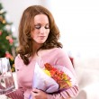 Christmas: Woman Received Flowers For Holiday Gift — Foto Stock