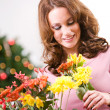 Christmas: Woman Received Flowers For Holiday Gift — Stok fotoğraf