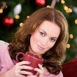 Christmas: Woman Relaxing With Hot Drink — Stok fotoğraf