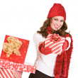 Stock Photo: Christmas: Holding Out Holiday Gift