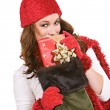 Christmas: Peeking Over Christmas Stocking — Stock Photo