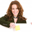 Casual: Woman Holding Sticky Note — Stok fotoğraf