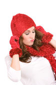 Winter: Woman Pulling Down Hat — Stock Photo