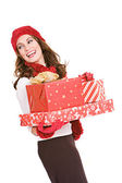 Christmas: Woman Holding Stack of Wrapped Gifts — Stock Photo