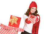 Christmas: Holding Out A Holiday Gift — Stock Photo